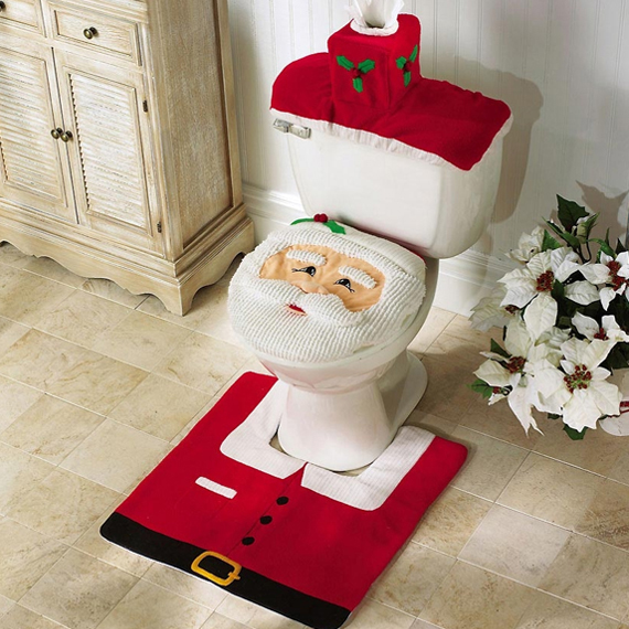 Happy Santa Christmas Bathroom Toilet Cover and Rug Set