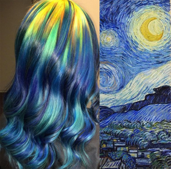 She-Colors-Hair-to-Match-famous-works-of-art